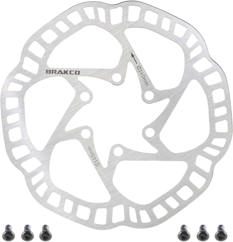 BRAKCO One Piece Extra Light Mountain Bike Disc Brake Rotor 6 Bolts 140mm