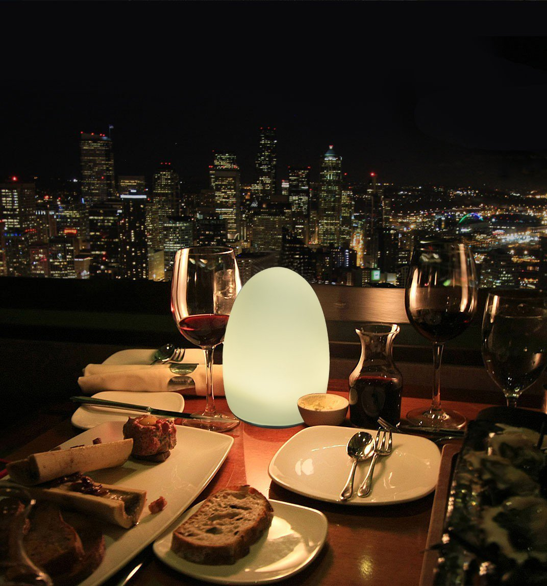 HERO-LED TB-EG-01 Restaurant Table Lighting, Wireless Induction Rechargeable LED Cordless Table Lamps with Remote Timer Controller, Set of 2, Egg 01 by HERO-LED (Image #5)