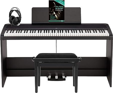 Korg B2SP BK - Piano digital (piano digital con 88 teclas, piano nder con 3 pedales, banco de piano, recogedor de cabeza, fuente de alimentación y ...