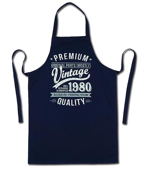 My Generation Gifts 1980 Vintage Year - Aged To Perfection - 40 Cumpleaños Regalos / 30 años Delantal para Hombre Azul Marino