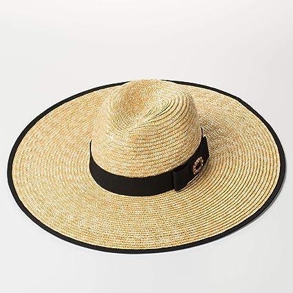 Defect Las señoras Paja Sombrero Europeo-Americano Estilo Diamante Arco  Grandes Aleros Paja Jazz Bloqueador b44084e2712