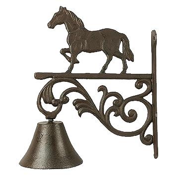 Campana en hierro fundido, de estilo antiguo, para pared y con silueta de caballo.: Amazon.es: Jardín