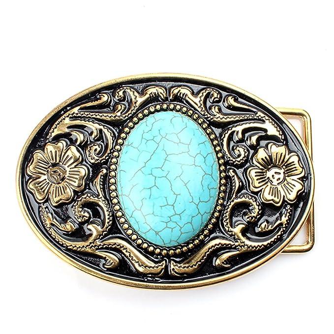 Blue Vintage Turquoise Belt Buckle Western Cowboy Mens Western Cowboy
