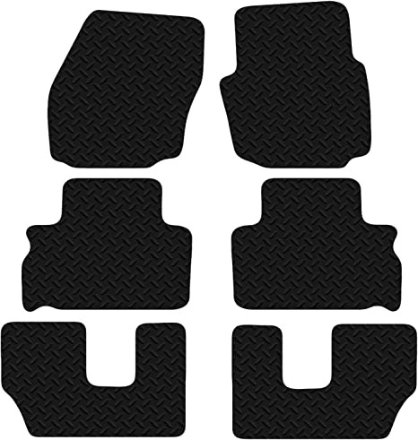 UKB4C Fully Tailored 6 Piece Car Carpet Mat Set Black fits Ford S-Max 7 Seater 2006 Onwards