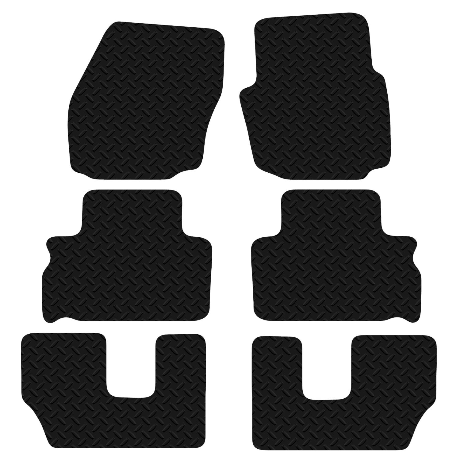 Black Floor Rubber Tailored Car Mat 3mm 6pc Set FOR Ford S-Max 7 Seater 2006 Onwards