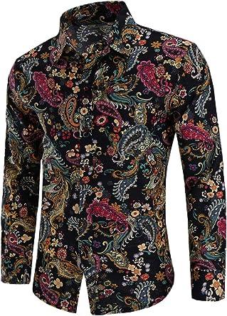 Emaor Men's Stylish Floral Long Sleeve Shirt & Short Sleeve Shirt