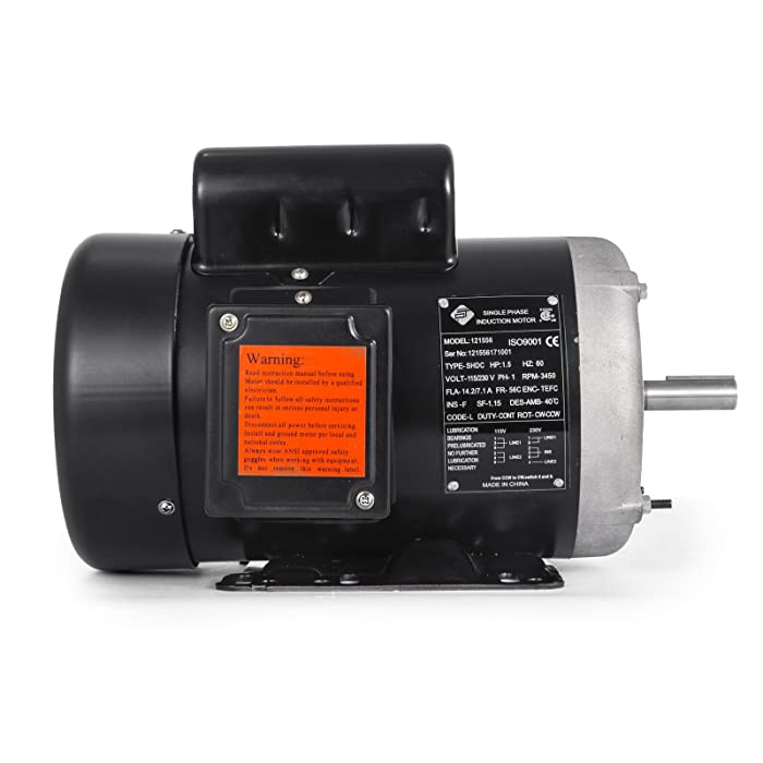VEVOR 1.5 Hp Electric Motor Rated Speed 3450 RPM Single Phase Motor AC 115/230V Air Compressor Motor Suit for Agricultural Machinery and General Equipment