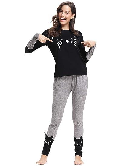 dee14c2f84ea Women s Kitty Cat Print Pajamas Long Sleeve and Pants Cotton Womens  Loungewear Black