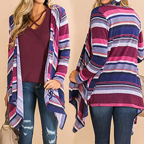 Amazon.com: Besde Womens Fashion Casual Winter Long Sleeve Color Stripe Print Open Front Cardigan Blouse Tops: Garden & Outdoor