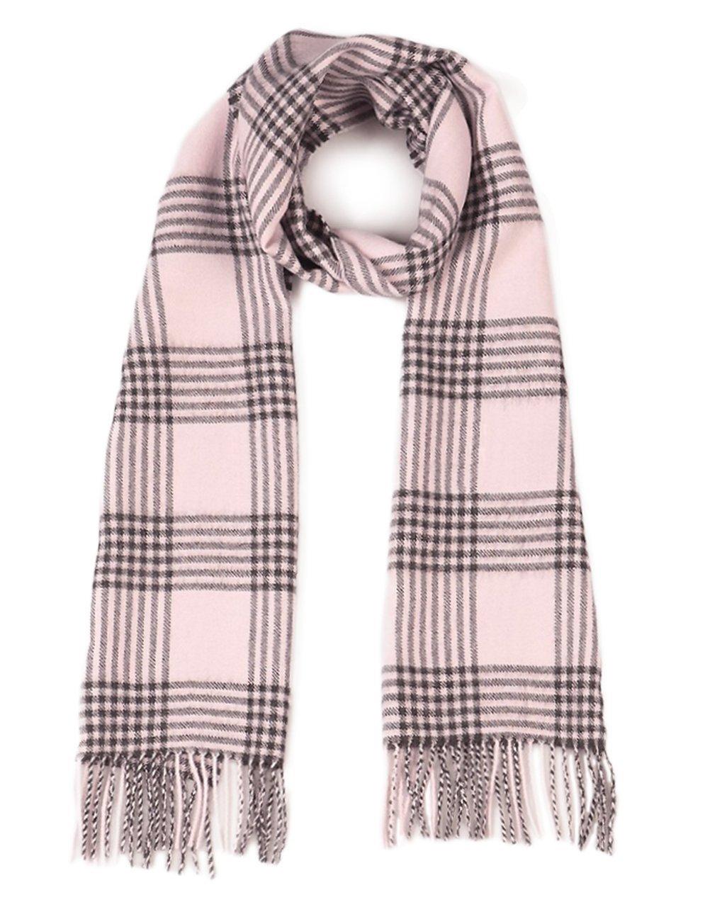 Cross Hatch Plaid Scarf 100% Pure Baby Alpaca - Unequaled Luxury for Men & Women (Blush / Grey)