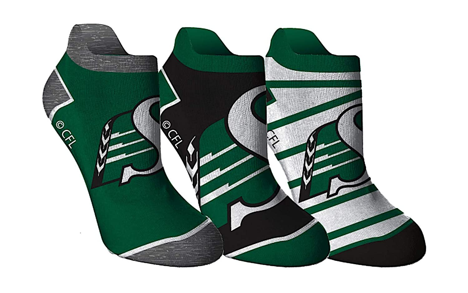 CFL Saskatchewan Roughriders Ladies Ankle 3 Pack Socks Gertex