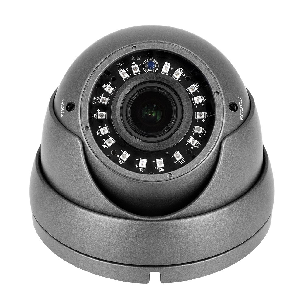 R-Tech 1080p 4-in-1 AHD CVI TVI Analog Outdoor Dome Security Camera with New-Style SMD High-Intensity IR LEDs for Night Vision – 2.8-12mm Varifocal