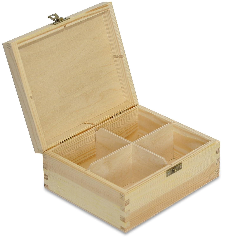 Caja para Té Bolsita Madera | 4 Compartimentos | 17,5 x 15 x 7,5 cm Decoradas Decoupage y Decoración