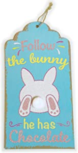 Easter Decorations for The Home Farmhouse Easter Decor Signs Wall Art Bunny Sign for Room Front Door Kitchen Yard Outdoor Porch Easter Signs Wooden Plaque Home Decor Easter Hanging Sign Blue