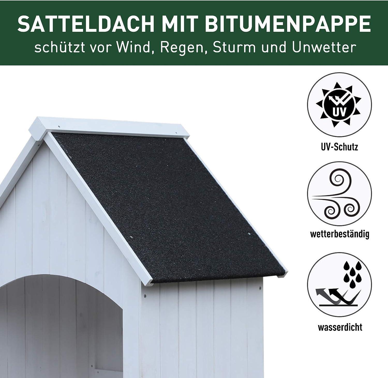 Outsunny Holz Gartenschrank Ger/ätehaus Gartenhaus Ger/äteschuppen Ger/äteschrank Holzh/ütte Giebeldach Bitumenpappe Wei/ß 77,5 x 54,2 x 179,5 cm