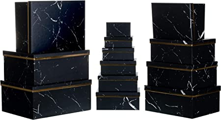 Brandsseller - Caja de cartón con tapa, estable, juego de 13 unidades, diseño de estrellas, papel, Marmol/negro., 37,5cm x 29cm x 16cm bis 13cm x 7,5cm x 4,4cm: Amazon.es: Hogar