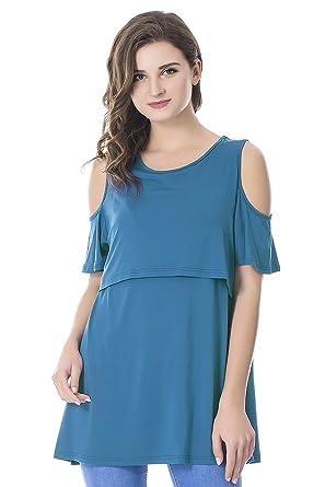 218d7742168 Bearsland Women's Maternity Cold Shoulder Nursing Tops Modal Short Sleeve Breastfeeding  Clothes