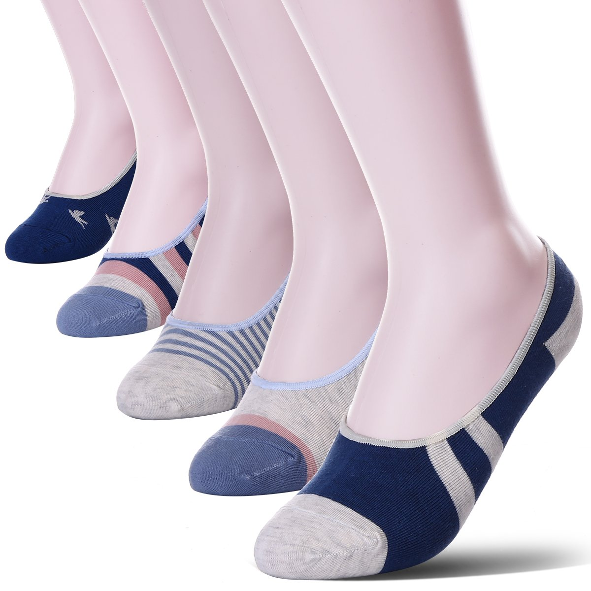 Womens 5 Pack Thin Casual No Show Socks Non Slip Flat Boat Line Low Cut