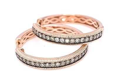 Amazoncom LeVian Hoops Earrings 58 ct Chocolate Diamonds 14k Rose