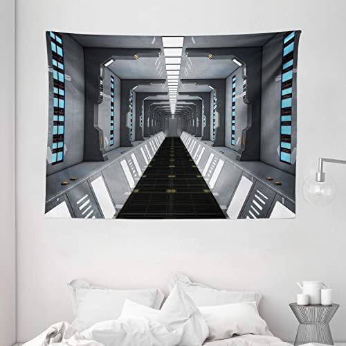 Ambesonne Futuristic Tapestry, Futuristic SciFi Corridor Space Ship Station Science Fiction Laboratory Picture Print, Wide Wall Hanging for Bedroom Living Room Dorm, 80 X 60 , Grey