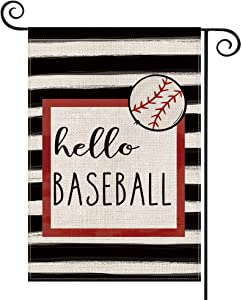 AVOIN Watercolor Stripes Hello Baseball Garden Flag Vertical Double Sided, Sports Holiday Yard Outdoor Decoration 12.5 x 18 Inch