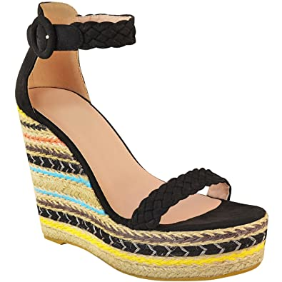 693991cd5e29 Fashion Thirsty Heelberry® Womens Ladies Black Wedge Platforms Sandals High  Heels Party Summer Shoes Size  Amazon.co.uk  Shoes   Bags
