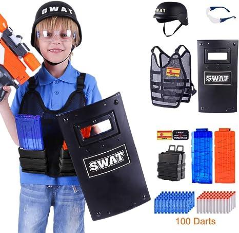 YAKOK - Juego de chaleco para niños, para Nerf: chaleco táctico, casco, escudo SWAT, táctico, dardos, clip de 12 cargadores y soporte, gafas protectoras para Nerf CS y SWAT policía, españa, wie