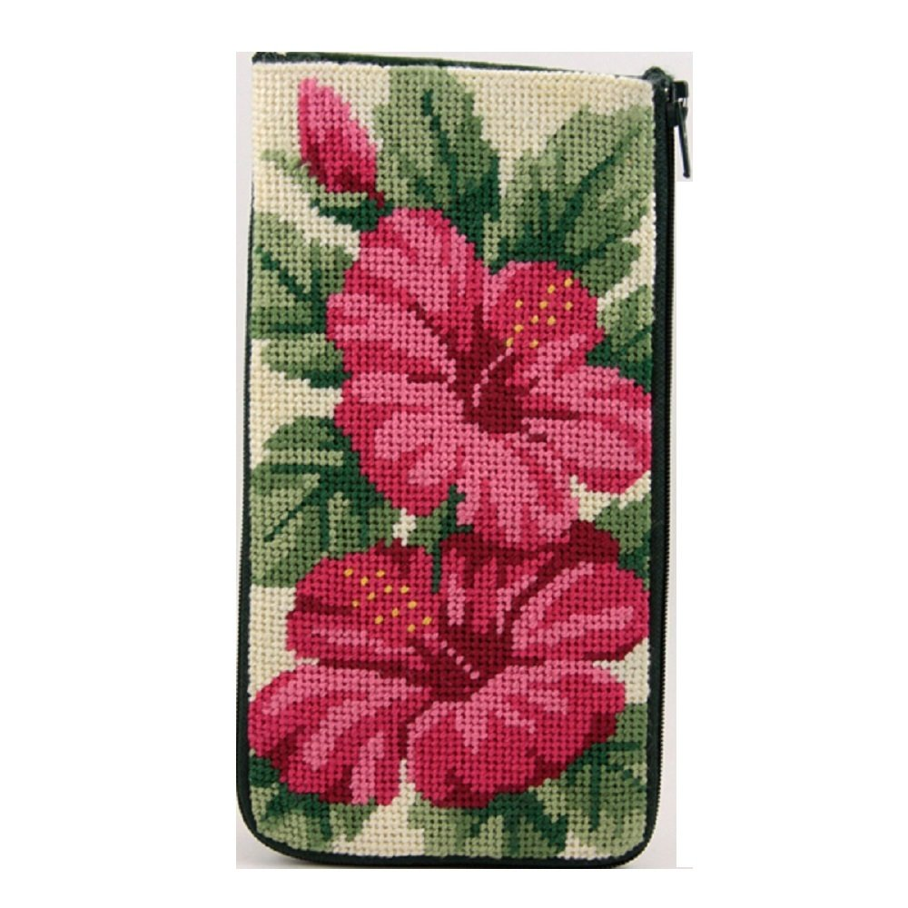 Eyeglass Case - Hibiscus - Needlepoint Kit Stitch & Zip AP-SZ318