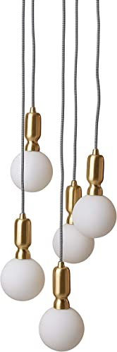 Rivet Diana Mid-Century Modern 5-Globe Ceiling Pendant Chandelier with LED Light Bulbs, 65 Cord, Gold