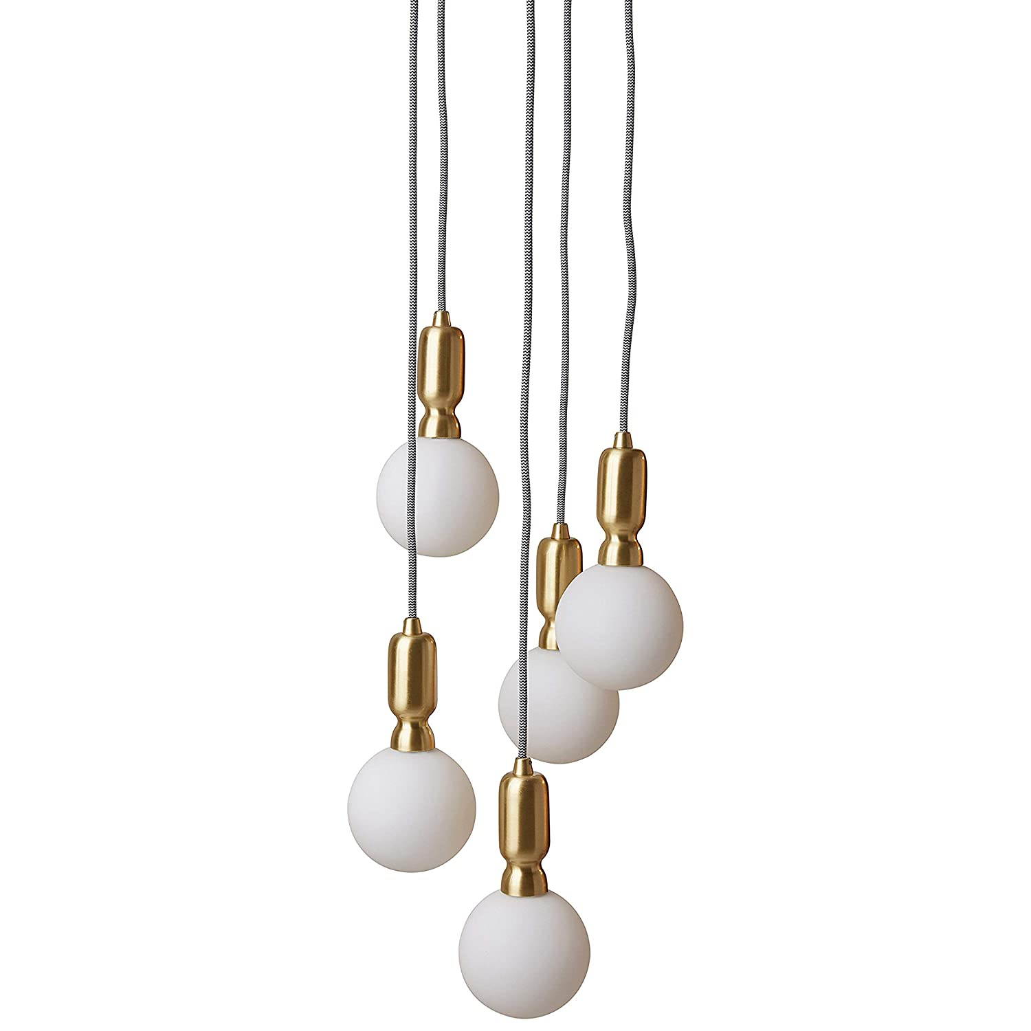 Pendant Chandelier Rivet Diana Modern 5-Globe Pendant Chandelier With  Bulbs, 65 H, gold
