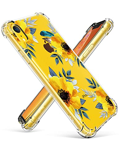 Gviewin Case For I Phone Xr, Clear Flower Pattern Design Soft & Flexible Tpu Ultra Thin Shockproof Transparent Girls And Women Floral Cover, Cases For I Phone Xr 2018 (Sunflowers/Yellow) by Gviewin