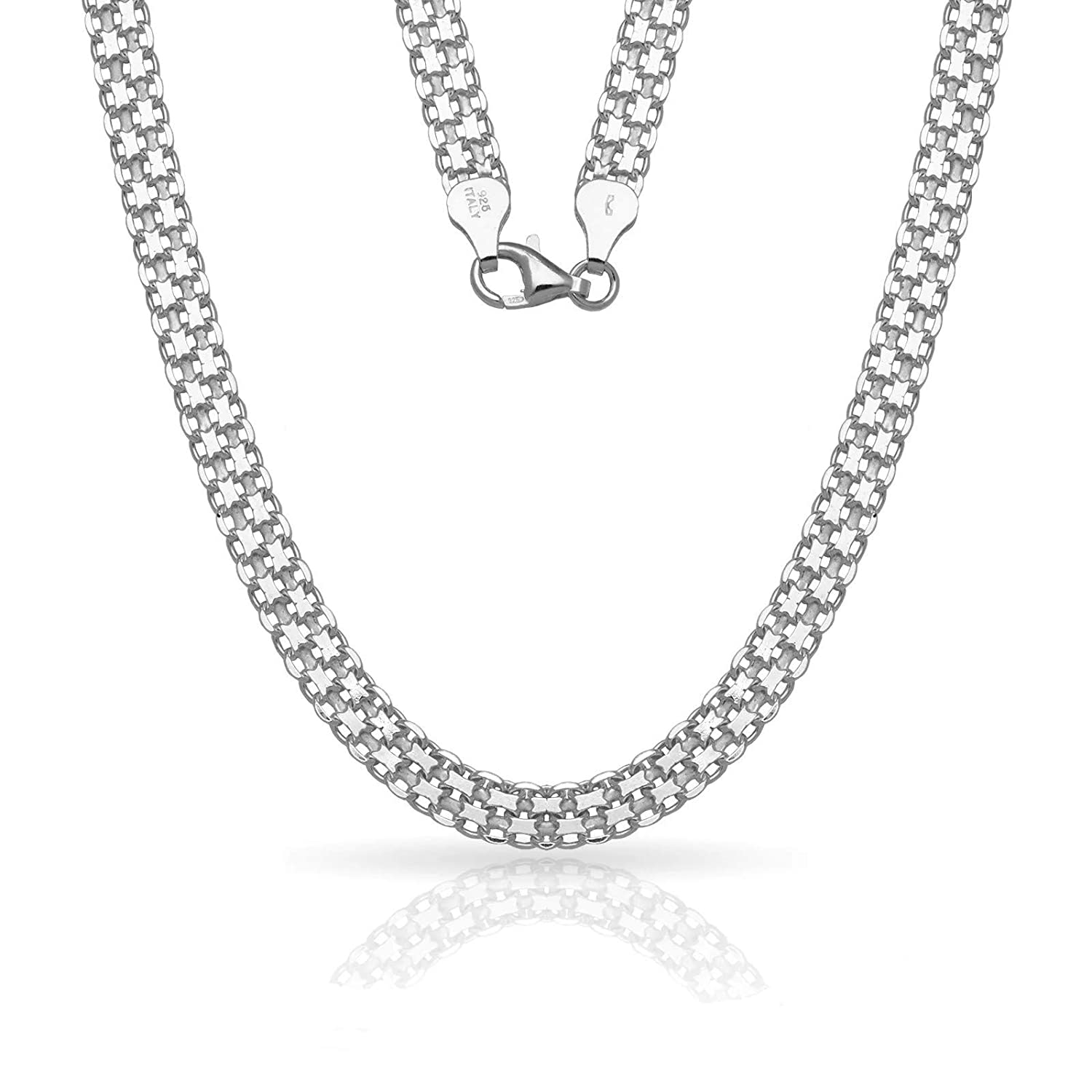 Verona Jewelers Sterling Silver 2MM 2.5MM Bismark Chain Necklace Flat Box Link Chain Necklace Silver Flat Necklace