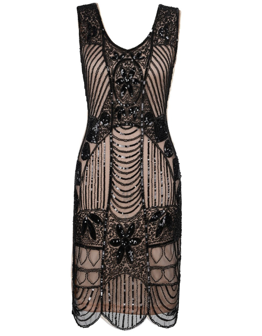 PrettyGuide Womens 1920s Flapper Dress Gatsby Sequin Scalloped Inspired Cocktail Dress