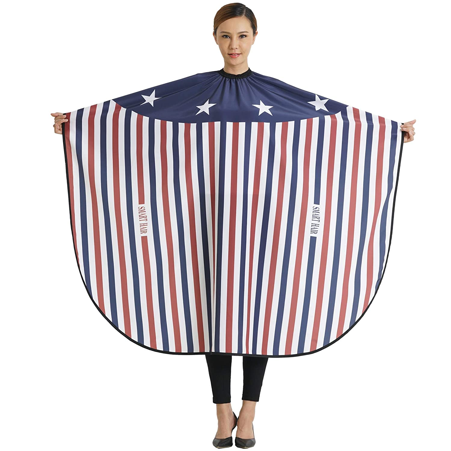 SMARTHAIR Professional Salon Cape Polyester Baber Cape Haircut Apron Hair Cut Cape, 54x62, Red White & Blue, C408001B 54x62 Smart hair