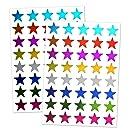 """8 Colors, 1000 Pack, Foil Star Metallic Stickers, 0.6"""" Diameter"""