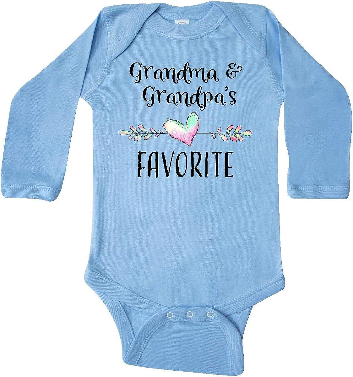 inktastic Grandma and Grandpas Favorite Heart Grandchild Long Sleeve Creeper