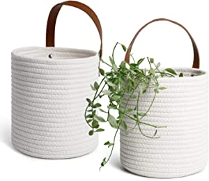 POTEY 710206 2pack Cotton Rope Hanging Baskets - 7.08 x 7.87 Wall Storage Bin for Key, Sunglasses, Wallet on Door, Modern Woven Wall Basket Decor for Flower Plants Organizer (White)