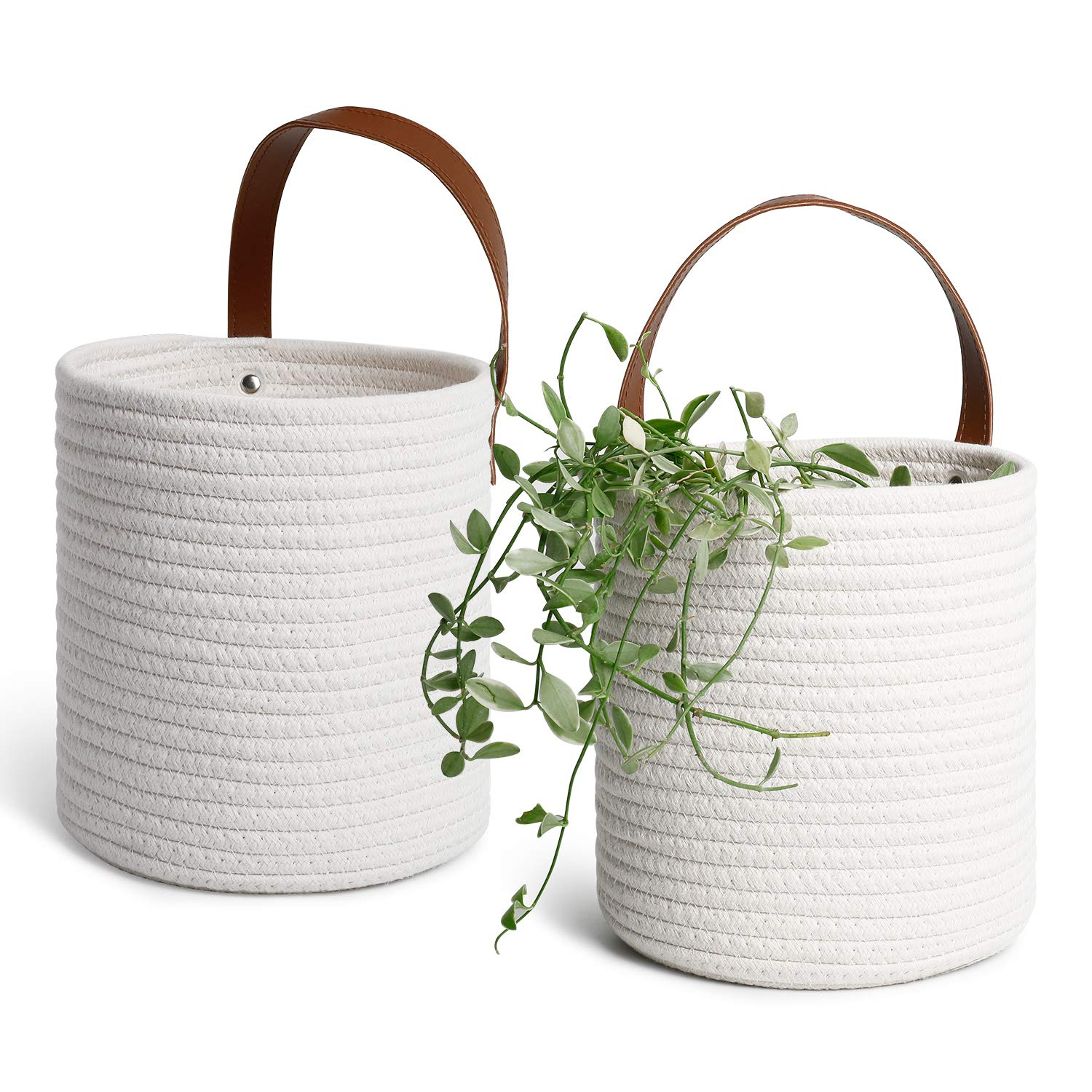 POTEY 710206 2pack Cotton Rope Hanging Baskets – 7.08 x 7.87 Wall