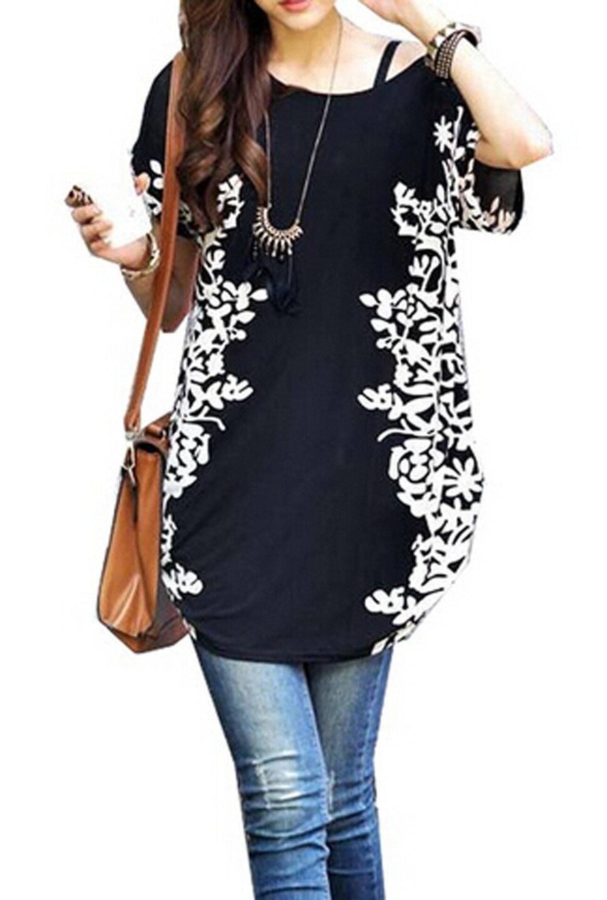 Relipop Women Summer Tunic Short Sleeve Casual Loose Blouse Top (Medium, Black)