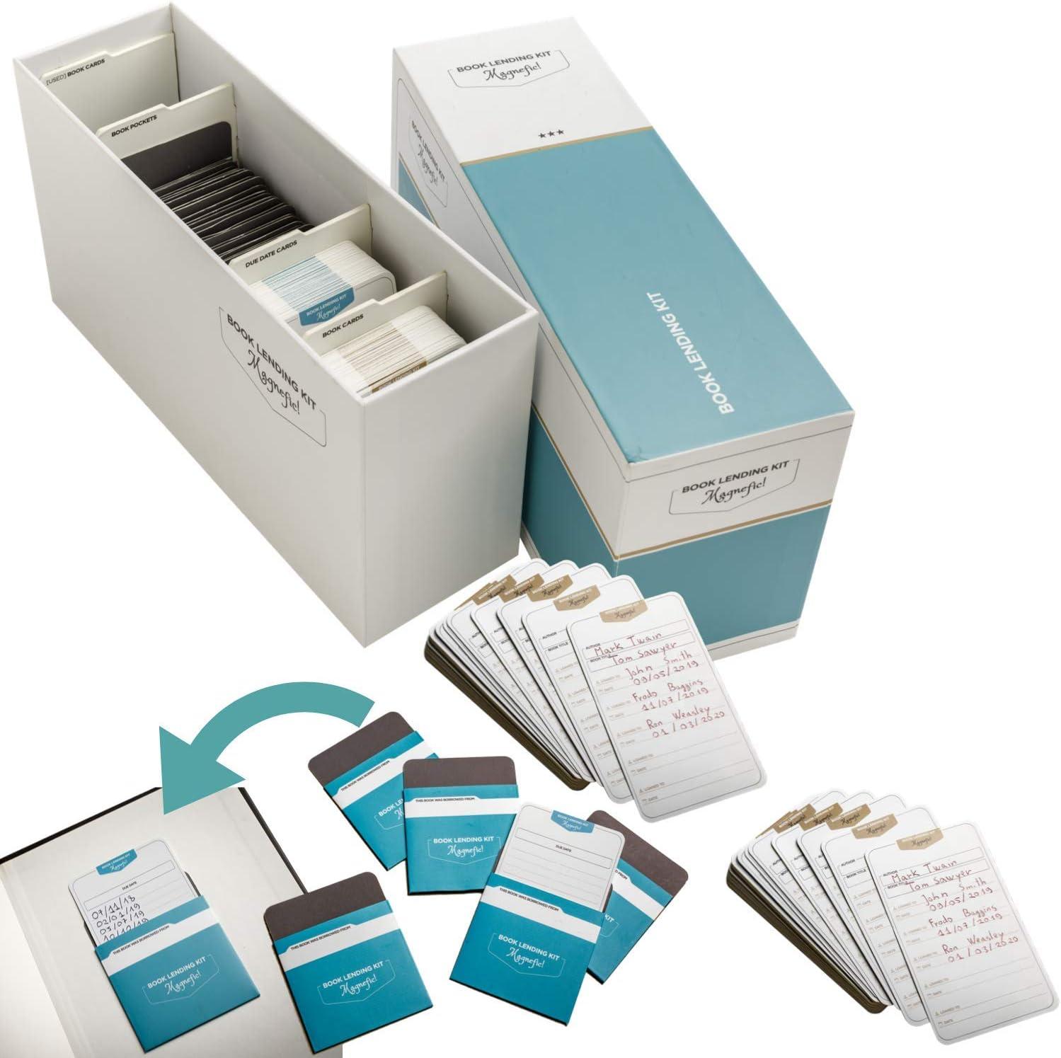 Magnefic - Kit de préstamo de libros, biblioteca personal, seguimiento y organización de catálogos, 50 tarjetas de fecha de vencimiento y bolsillos, ...