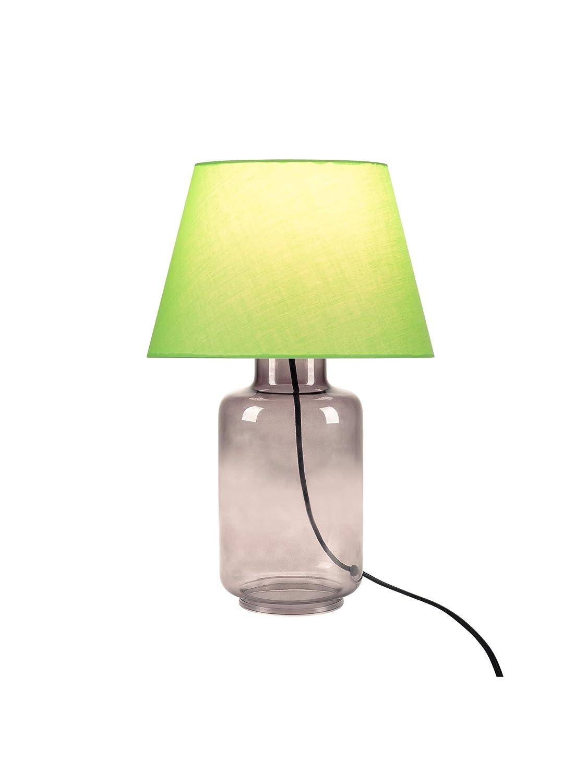 SLV LED Tischleuchte Fenda Mix & Match | 3er Set: Leuchten-Stoffschirm konisch grün, Rauchglas-Fuß, E27 Leuchtmittel | Moderne Design-Tischlampe Wohnzimmer-Beleuchtung, Flur, Esszimmer, Kommode Flair