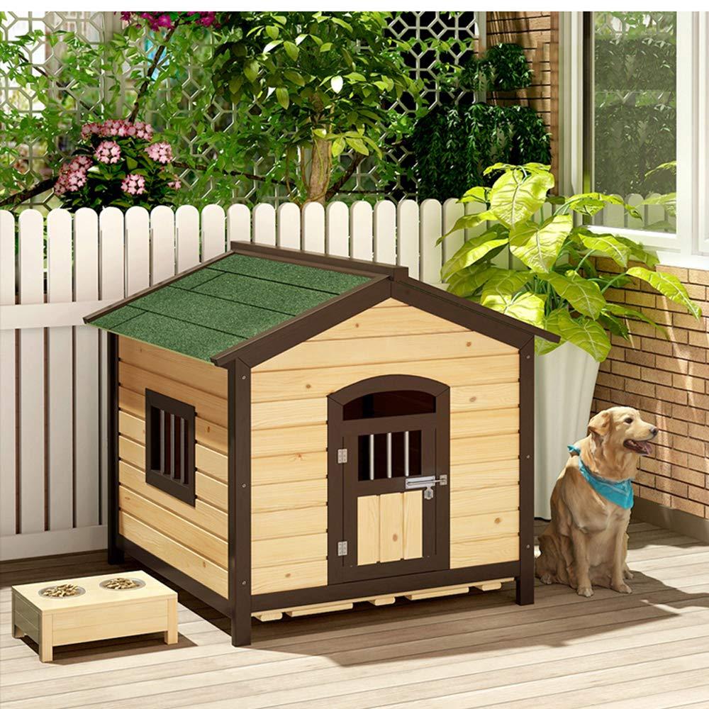 Casa de mascotas, caseta de Perro de Madera sólida Perrera carbonizada Jaula para Perros Jaula para Perros Protector Solar a Prueba de Agua anticorrosión ...