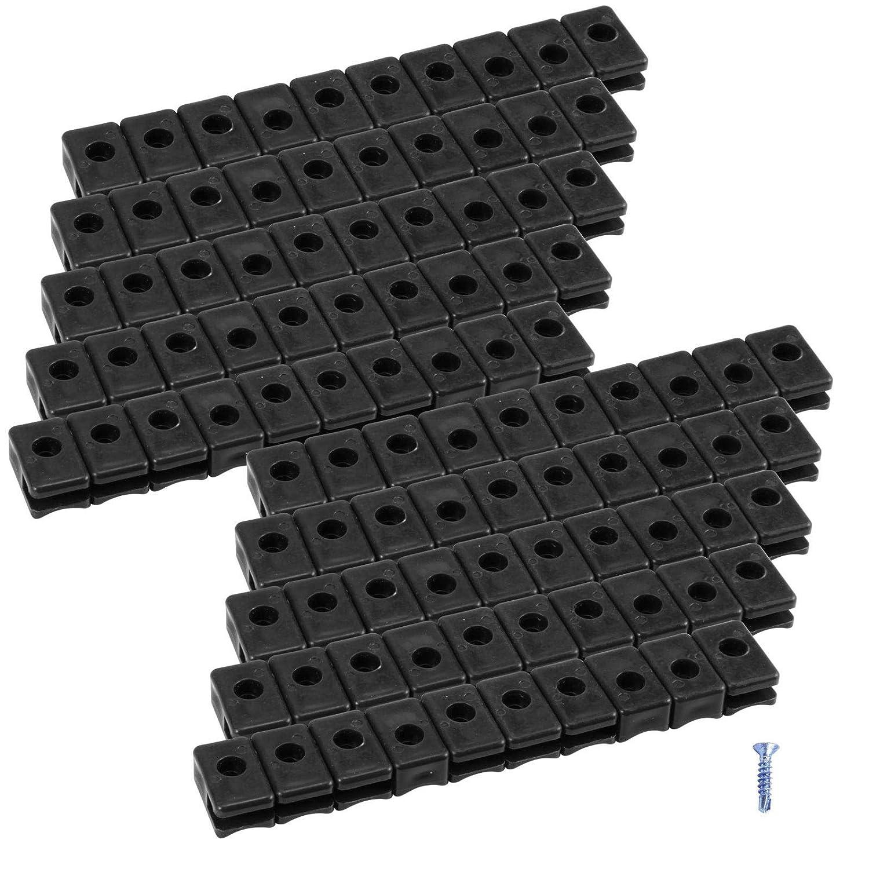 Bohrschrauben Schwarz 100 st Kunststoff Spanndrahthalter mit Schraube PVC mit V2A Spange inkl