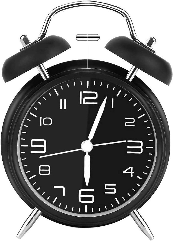 iwobi Reloj Despertador de Doble, Despertador Retro de Metal Reloj Despertador analógico con Doble Campana 4 Pulgadas Dial Grande con luz Nocturna