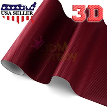 "4/""x8/"" Sample 3D Matte Red Carbon Fiber Textured Car Vinyl Wrap Sticker Decal"