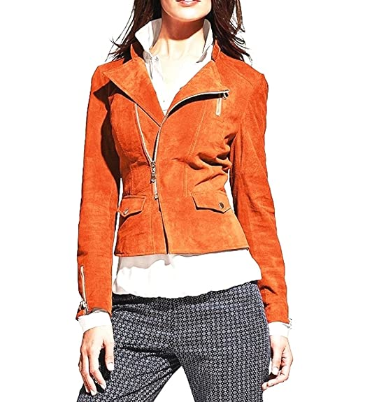 B.C. Damen Lederjacke Best Connections Orange (36): Amazon