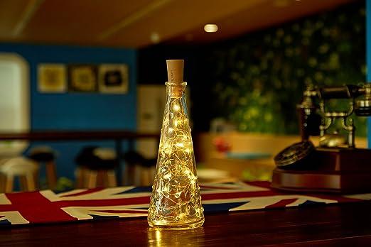 Cadena de Luces LED, Lumin Tekco Guirnalda LED Pilas Corcho Micro Botella Vino Blanco Cálido para Luz Botella de Vino Tapón, Guirnalda de Luces, ...