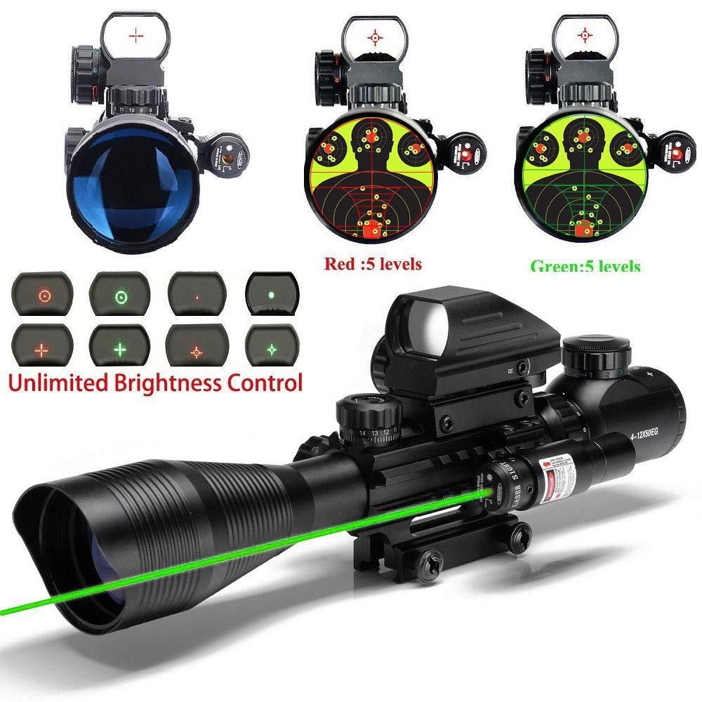 UUQ C4-12X50 Rifle Scope Dual Illuminated Reticle W/Green Laser Sight and Holographic Dot Reflex Sight