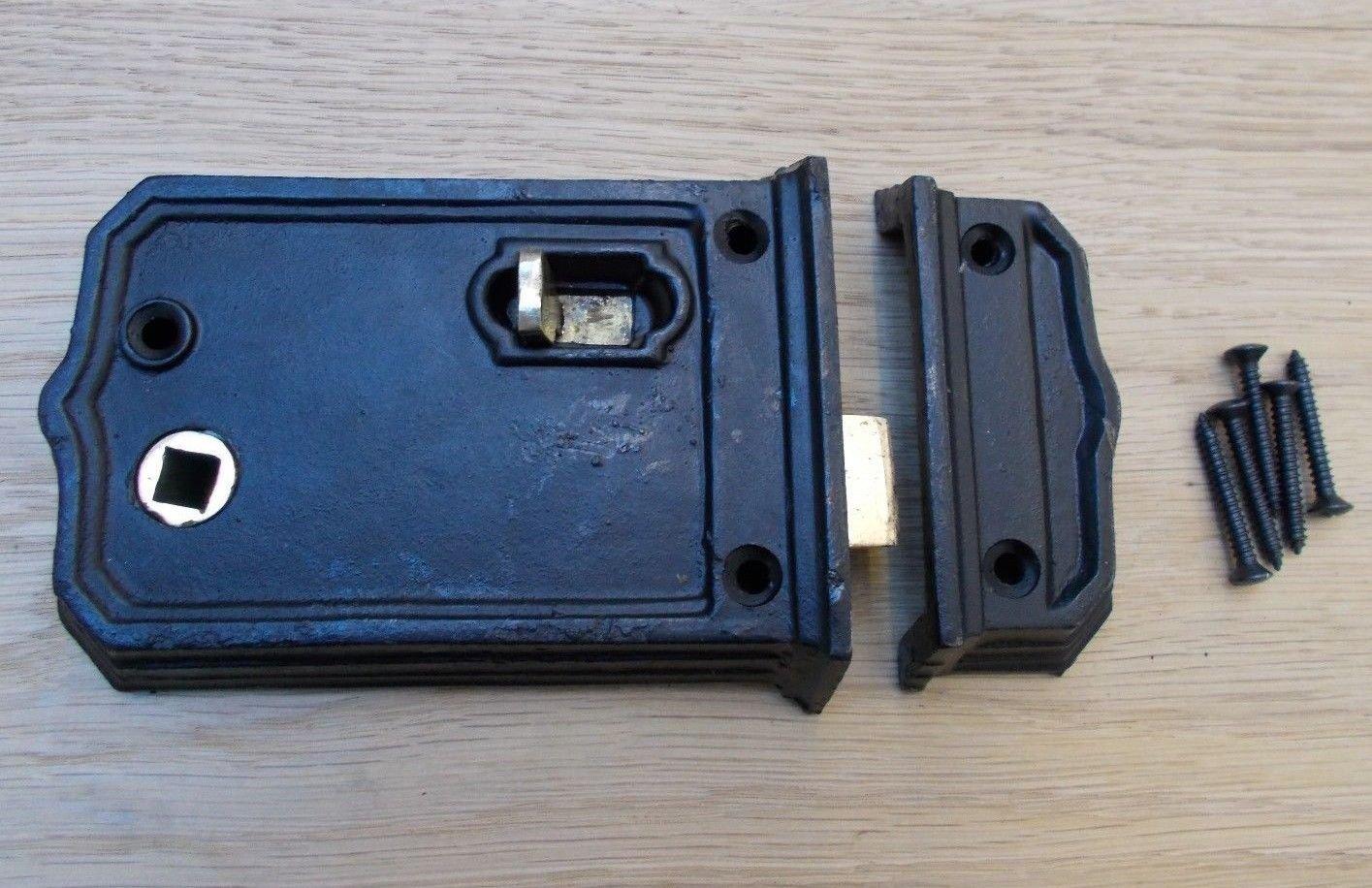 IRONMONGERYWORLD® CAST Iron Rustic Rim Door Latch Lock Vintage Old Retro Victorian Style (Small Antique Iron Rim Latch) Ironmongery World