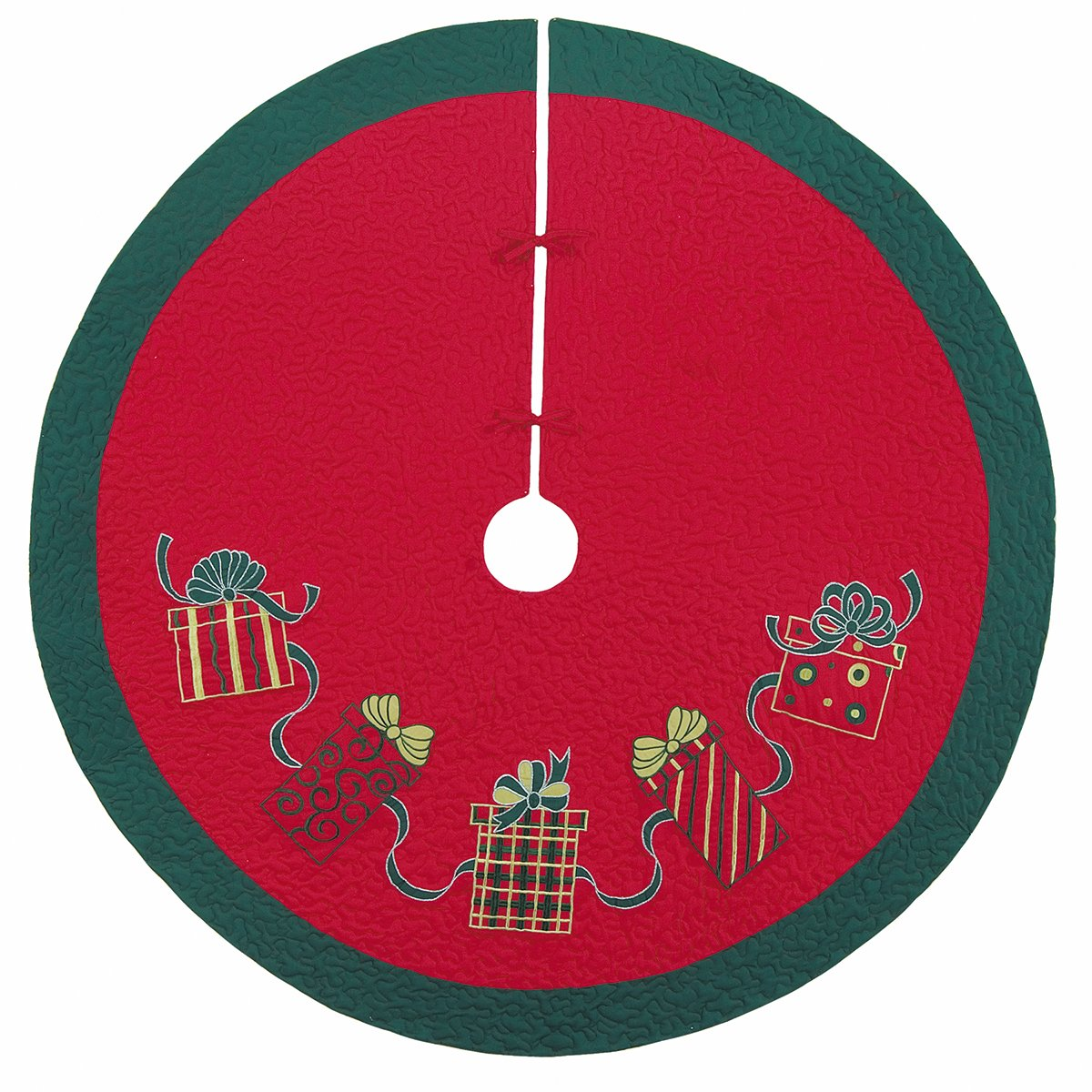 54'' Quilted Christmas Tree Skirt, Embroidered Gift Boxes Design by C&F Home (Image #1)